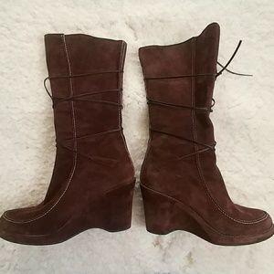 Via Spiga Suede Mid-Calf Lace Up Boots